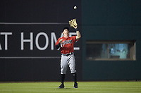 Indianapolis Indians left fielder Jordan Luplow (24) catches a fly ball during the game against the Charlotte Knights at BB&T BallPark on May 26, 2018 in Charlotte, North Carolina. The Indians defeated the Knights 6-2.  (Brian Westerholt/Four Seam Images)