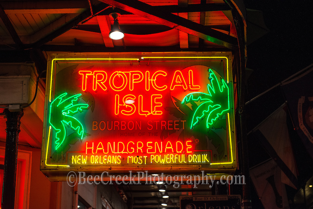 Neon Street signs from New Orleans French Quarter. Tropical Isle Neon Sign.