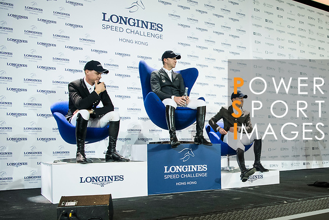 The temporary winning group at the Longines Speed Challenge during the Longines Masters of Hong Kong at AsiaWorld-Expo on 10 February 2018, in Hong Kong, Hong Kong. Photo by Diego Gonzalez / Power Sport Images