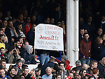 Arsenal fans still want Arsene Wenger to leave after a 0-2 win during the Barclays Premier League match at The Goodison Park Stadium. Photo credit should read: Simon Bellis/Sportimage