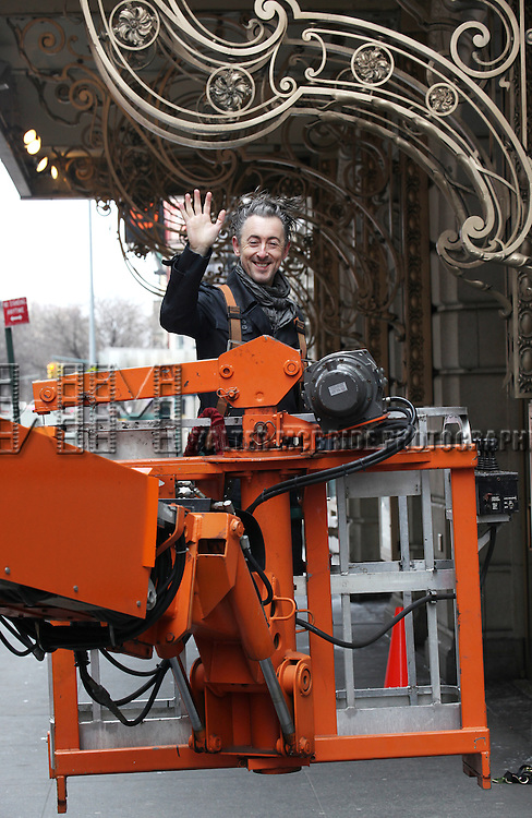 "Alan Cumming, Tony and Olivier Award-winner (""Cabaret"") participates in the installation of the new theatre marquees at Broadway's Ethel Barrymore Theatre for the upcoming limited engagement of his acclaimed one-man interpretation of 'MACBETH' in New York City on 2/12/2013"