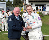 CS Challenge Cup Final, at Uddingston CC - Man of the Match Brandon Harwood (Irvine CC) with Cricket Scotland President Bruce Dixon - picture by Donald MacLeod - 13.08.2017 - 07702 319 738 - clanmacleod@btinternet.com - www.donald-macleod.com
