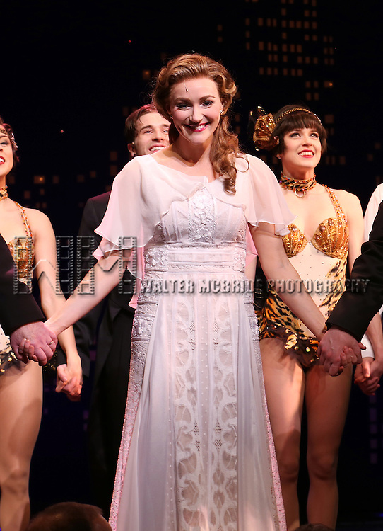 "Betsy Wolfe during the Broadway Opening Night Performance Curtain Call for ''Bullets Over Broadway'""at the St. James Theatre on April 10, 2014 in New York City."