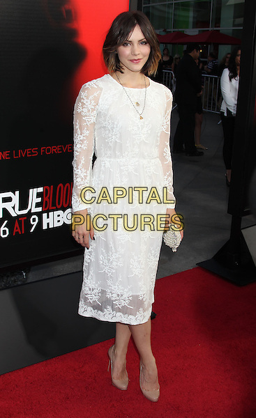 Katharine McPhee<br /> &quot;True Blood&quot; Season 6 Los Angeles Premiere held at The Cinerama Dome, Hollywood, California, USA.<br /> June 11th, 2013<br /> full length dress white lace beige shoes clutch bag<br /> CAP/ADM/RE<br /> &copy;Russ Elliot/AdMedia/Capital Pictures