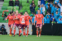 MELBOURNE, AUSTRALIA - NOVEMBER 14: Players from the Roar celebrate a goal during the round 14 A-League match between the Melbourne Heart and Brisbane Roar at AAMI Park on November 14, 2010 in Melbourne, Australia (Photo by Sydney Low / Asterisk Images)