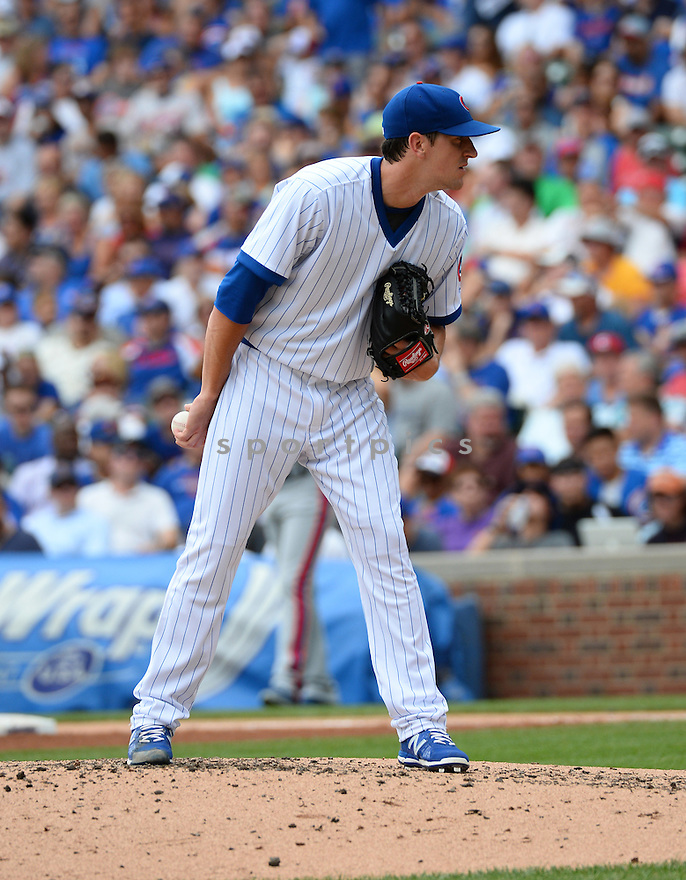 Chicago Cubs Kyle Hendricks (28) during a game against the New York Mets on July 20, 2016 at Wrigley Field in Chicago, IL. The Cubs beat the Mets 6-2.