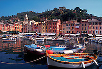 Portofino, Italy. View of seaport with boats in foreground