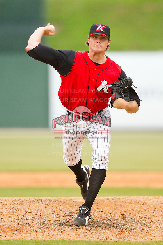 Kannapolis Intimidators relief pitcher Stew Brase #27 in action against the Lexington Legends at CMC-Northeast Stadium on May 20, 2012 in Kannapolis, North Carolina.  The Legends defeated the Intimidators 7-1.  (Brian Westerholt/Four Seam Images)