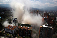 MEDELLIN, COLOMBIA - FEBRUARY 22: A dust cloud engulfs the area during the demolition of the Monaco building, which was once home to Colombian drug lord Pablo Escobar in Medellin, Colombia on February 22, 2019. The site will become a park in memory of the victims of the drug war. (Photo by VIEWPRESS/ Fredy Builes)