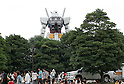 """A 1/1 scale RX78 Gundam erected in Odaiba for the 30th anniversary of the animated television series """"Mobile Suit Gundam"""". The Gundam statue move its head and emit light or mist from 50 points. It will be displayed through Aug. 31"""