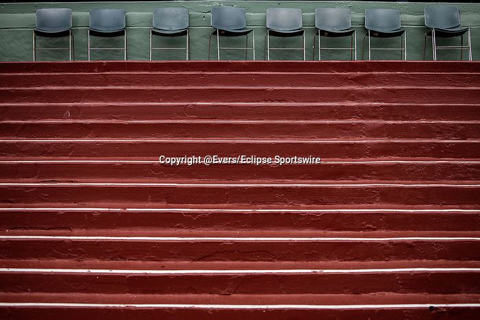 MAR 14: An empty grandstand at Santa Anita Oark as it remains closed to the public for safety concerns over the coronavirus in Arcadia, California on March 14, 2020. Evers/Eclipse Sportswire/CSM