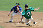 SIOUX FALLS, SD - AUGUST 18:  Drew Heithoff #2 from the Sioux Falls Brewers waits for the ball as Chaz Palmer #12 from the Renner Monarchs tries to steal second during the first inning Sunday afternoon during the Class A Amateur Baseball Tournament at the Sioux Falls Stadium. (Photo by Dave Eggen/Inertia)