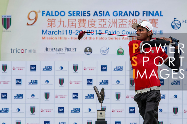 Players in action at the 9th Faldo Series Asia Grand Final 2014 golf tournament on March 18, 2015 at Mission Hills Golf Club in Shenzhen, China. Photo by Xaume Olleros / Power Sport Images