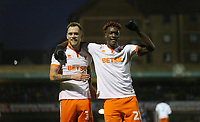 Blackpool's Armand Gnanduillet celebrates scoring his side's second goal with Harry Pritchard<br /> <br /> Photographer Rob Newell/CameraSport<br /> <br /> The EFL Sky Bet League One - Southend United v Blackpool - Saturday 17th November 2018 - Roots Hall - Southend<br /> <br /> World Copyright © 2018 CameraSport. All rights reserved. 43 Linden Ave. Countesthorpe. Leicester. England. LE8 5PG - Tel: +44 (0) 116 277 4147 - admin@camerasport.com - www.camerasport.com