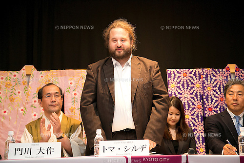 "April 24, 2013, Tokyo, Japan - The represent of Japan EXPO (in France) Thomas Sirdey at ""Kyoto international Manga Anime Fair 2013"" press conference in Kabukiza Tower, Tokyo. In the press conference the organizers of KYOMAF, Mayor of Kyoto and Japan EXPO (in France) signed a document to collaborate together to promote the anime and manga culture in Europe and United States. The KYOMAF is the largest manga/anime fair in West Japan and will be free entrance for elementary school students and foreigners with passport. It will be held from September 6 to 8 at Miyako Messe, Kyoto. (Photo by Rodrigo Reyes Marin/AFLO).."