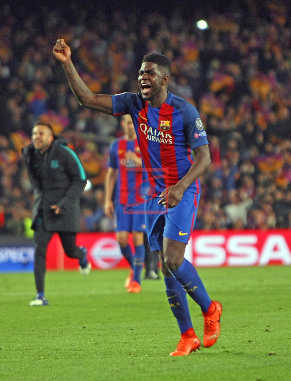 UEFA Champions League 2016/2017.<br /> Round of 16 2nd leg<br /> FC Barcelona vs Paris Saint-Germain: 6-1.<br /> Samuel Umtiti.