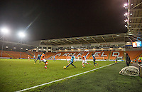 A general view of play in a near empty stadium during the The Checkatrade Trophy match between Blackpool and Wycombe Wanderers at Bloomfield Road, Blackpool, England on 10 January 2017. Photo by Andy Rowland / PRiME Media Images.
