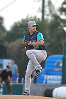 Lynchburg Hillcats pitcher Shao-Ching Chiang (30) on the mound during a game against the Myrtle Beach Pelicans at Ticketreturn Field at Pelicans Ballpark on April 15, 2017 in Myrtle Beach, South Carolina.  Lynchburg defeated Myrtle Beach 5-3. (Robert Gurganus/Four Seam Images)