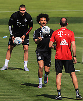 14th July 2020, Sebenersatrsse, Munich, Germany;  Leroy Sane new signing for FCB with Niklas Suele  attend a training session of Bayern Munich