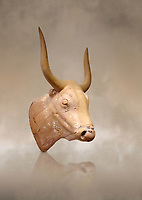 The Minoan clay bull's head rhython lbation vessel,  Palaikastro 1500-1450 BC; Heraklion Archaeological  Museum.