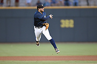 Second baseman Blake Tiberi (3) of the Columbia Fireflies plays defense in a game against the Greenville Drive on Saturday, May 26, 2018, at Spirit Communications Park in Columbia, South Carolina. Columbia won, 9-2. (Tom Priddy/Four Seam Images)
