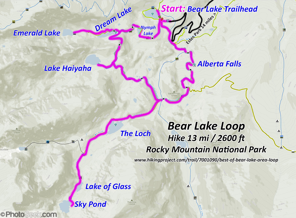 Topo map of Bear Lake Loop hike 13 miles, 2600 feet gain, in ...