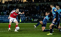 Fleetwood Town's Paddy Madden (left) shoots at goal <br /> <br /> Photographer Andrew Kearns/CameraSport<br /> <br /> The EFL Sky Bet League One - Wycombe Wanderers v Fleetwood Town - Tuesday 11th February 2020 - Adams Park - Wycombe<br /> <br /> World Copyright © 2020 CameraSport. All rights reserved. 43 Linden Ave. Countesthorpe. Leicester. England. LE8 5PG - Tel: +44 (0) 116 277 4147 - admin@camerasport.com - www.camerasport.com