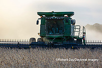 63801-13520 Harvesting soybeans in fall-aerial  Marion Co. IL