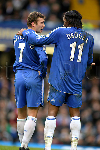 10 February 2007: Chelsea strikers Andriy Shevchenko and Didier drogba together during the Premiership game between Chelsea and Middlesbrough, played at Stamford Bridge. Chelsea won the match 3-0. Photo: Actionplus....070210 football soccer player