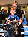 Phil and Jamie Monaghan pictured with the EA cup at the Drog Shop in Scotch hall. Photo: Colin Bell/pressphotos.ie