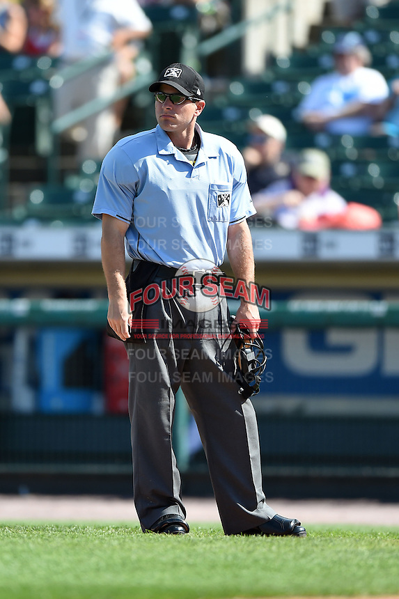 Umpire Ben May during the first game of a doubleheader between the Buffalo Bisons Rochester Red Wings on July 6, 2014 at Frontier Field in Rochester, New  York.  Rochester defeated Buffalo 6-1.  (Mike Janes/Four Seam Images)