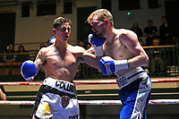 Aaron Collins (white shorts) defeats Dale Arrowsmith during a Boxing Show at York Hall on 10th February 2018