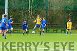 Cillian Dennehy Castleisland AFC drives through the Ballyhar defence during their u14 League match in Georgie O'Callaghan Park on Saturday
