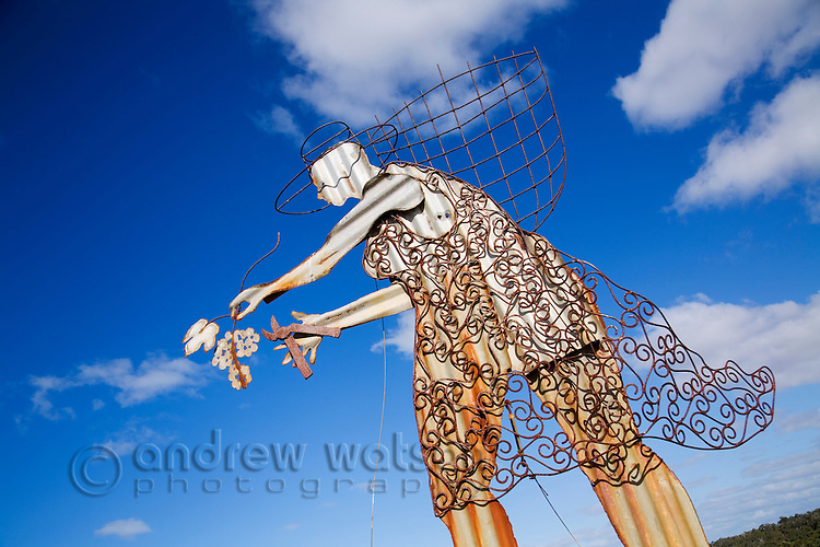 Grape harvesting sculpture.  Margaret River, Western Australia, AUSTRALIA.