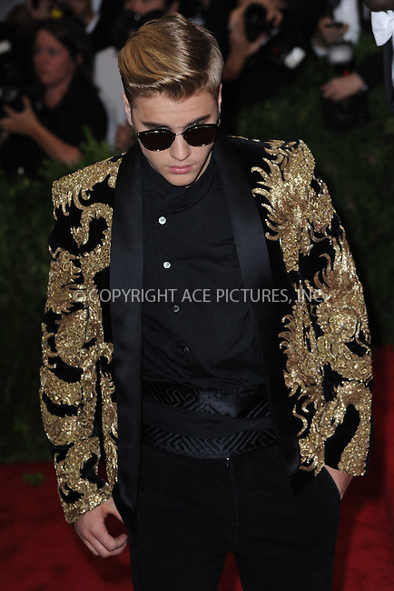 WWW.ACEPIXS.COM<br /> May 4, 2015...New York City<br /> <br /> Justin Bieber attending the Costume Institute Benefit Gala  celebrating the opening of China: Through the Looking Glass at The Metropolitan Museum of Art on May 4, 2015 in New York City.<br /> <br /> Please byline: Kristin Callahan<br /> ACEPIXS.COM<br /> Tel# 646 769 0430<br /> e-mail: info@acepixs.com<br /> web: http://www.acepixs.com