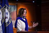 Speaker of the United States House of Representatives Nancy Pelosi (Democrat of California) speaks during a news conference regarding the vote by mail provision in the Heroes Act at the United States Capitol in Washington D.C., U.S. on Thursday, May 21, 2020. Credit: Stefani Reynolds / CNP
