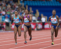 Elaine THOMPSON of JAM wins her 100 metre Heat in 10.97 with Dina ASHER-SMITH of GBR finishing 2nd (11.13) during the Muller Grand Prix Birmingham Athletics at Alexandra Stadium, Birmingham, England on 20 August 2017. Photo by Andy Rowland.