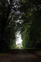 A magnificent avenue of lime trees leads up to the entrance to Huntington Castle