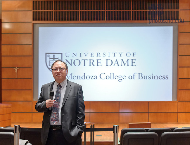 Mar. 1, 2013; Mendoza College of Business Dean Roger Huang speaks to MCOB faculty and staff after being introduced as the new Dean of the college...Photo by Matt Cashore/University of Notre Dame