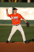 February 26, 2010:  Second Baseman Pete Cappetta (11) of the Illinois Fighting Illini during the Big East/Big 10 Challenge at Jack Russell Stadium in Clearwater, FL.  Photo By Mike Janes/Four Seam Images