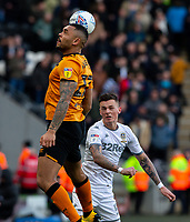 Hull City's Josh Magennis battles with Leeds United's Ben White<br /> <br /> Photographer Alex Dodd/CameraSport<br /> <br /> The EFL Sky Bet Championship - Hull City v Leeds United - Saturday 29th February 2020 - KCOM Stadium - Hull<br /> <br /> World Copyright © 2020 CameraSport. All rights reserved. 43 Linden Ave. Countesthorpe. Leicester. England. LE8 5PG - Tel: +44 (0) 116 277 4147 - admin@camerasport.com - www.camerasport.com