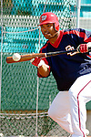 18 March 2006: Marlon Byrd, outfielder for the Washington Nationals, takes bunting drills prior to a Spring Training game against the New York Mets at Space Coast Stadium, in Viera, Florida. The Nationals defeated the Mets 10-2 in Grapefruit League play...Mandatory Photo Credit: Ed Wolfstein Photo..