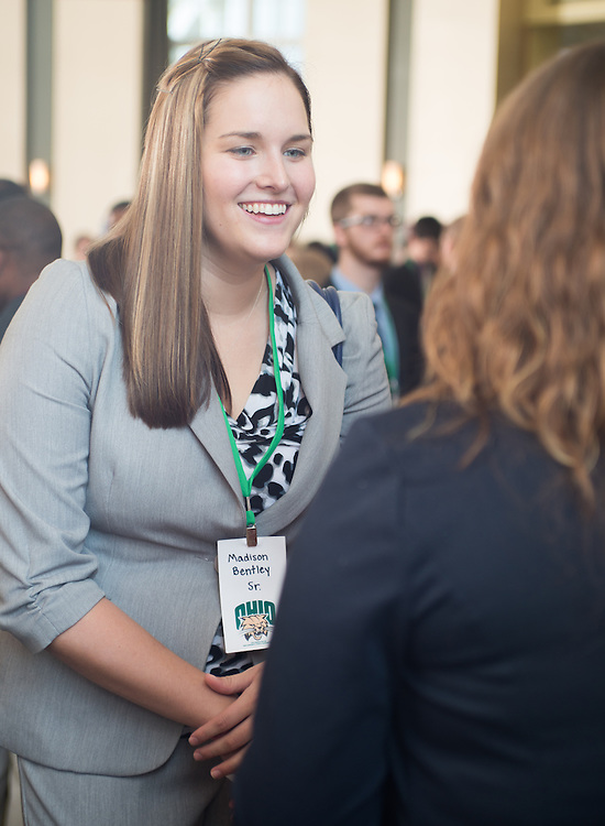 Ohio University student, Madison Bentley, speaks with a Cleveland Browns representative during the Ohio University Sports Administration Career Fair. Photo by Elizabeth Held
