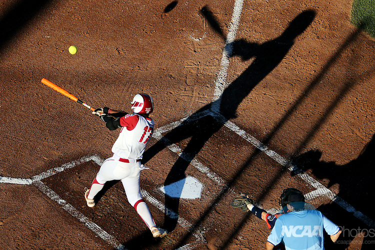 06 JUNE 2016: Shay Knighten (17) of University of Oklahoma hits the ball against Auburn University during the Division I Women's Softball Championship held at ASA Hall of Fame Stadium in Oklahoma City, OK.  University of Oklahoma defeated Auburn University in Game 1 by the final score of 3-2. Shane Bevel/NCAA Photos