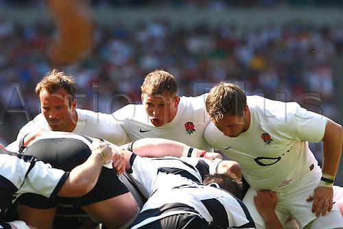 27.05.12 Twickenham Stadium, ENGLAND:..Paul Doran-Jones,Dylan Hartley and Matt Mullan of England..during the Kiillik Cup between England and Barbarians at Twickenham Stadium........