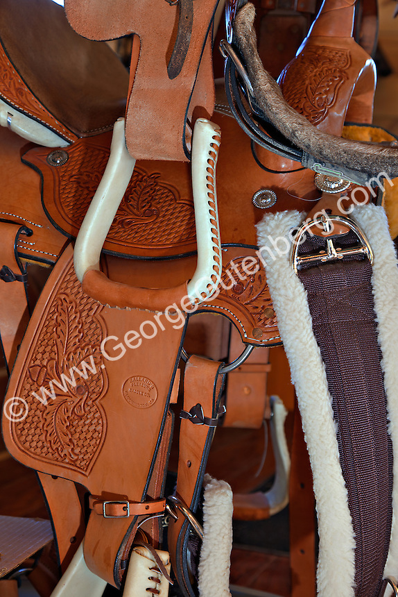 Western style horse saddles and tack