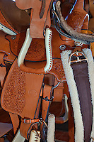 Western style horse saddles and tack
