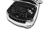 Car Stock 2018 JEEP Grand-Cherokee Overland 5 Door SUV Engine  high angle detail view