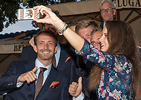 Moscow, Russia, 13 th July, 2016, Tennis,  Davis Cup Russia-Netherlands, Official Diner team with assistent Maria making a selfie<br /> Photo: Henk Koster/tennisimages.com