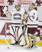 Adam Reasoner 30 and Joe Pearce 29 of Boston College chat during warmups. The Eagles of Boston College defeated the Falcons of Bowling Green State University 5-1 on Saturday, October 21, 2006, at Kelley Rink of Conte Forum in Chestnut Hill, Massachusetts.<br />